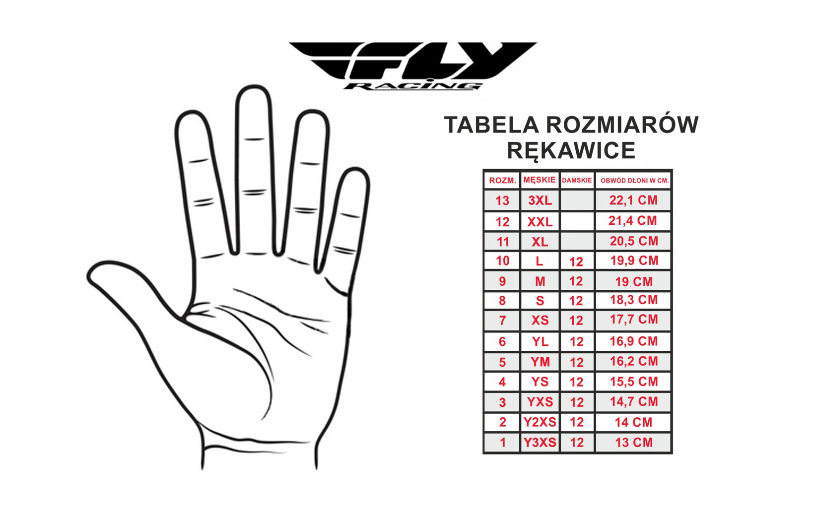 tabela rozmiarów fly racing